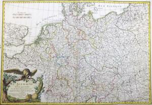 1771 Original Antique Decorative Map Of Germany Poland