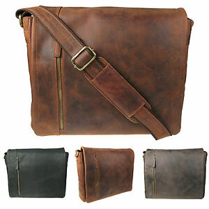 Mens Large Oiled Real Distressed Hunter Leather Messenger Satchel Bag H058