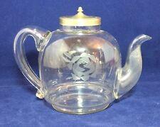 Vintage Antique 1920's Etched Glass Teapot Rare Old Unusual