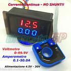 2IN1 DC AMPEROMETRO 0-50A CON SENSORE HALL VOLTMETRO 0-100V da pannello ammeter