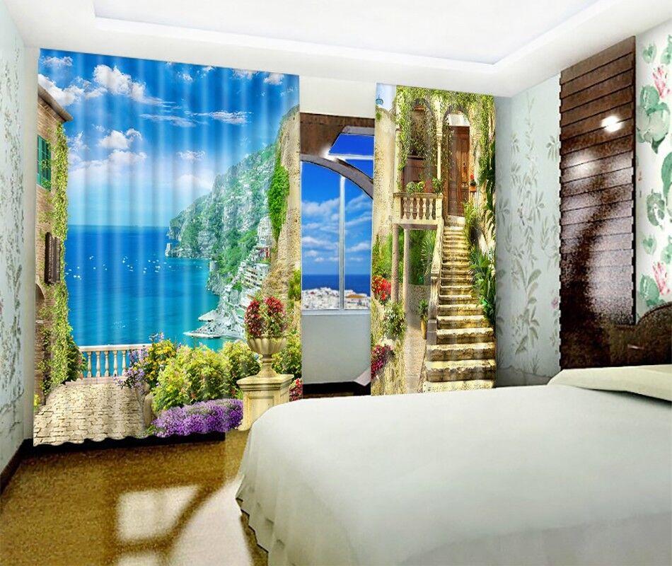 Casa De Playa 3D 4 Cortinas de impresión de cortina de foto Blockout Tela Cortinas Ventana Reino Unido