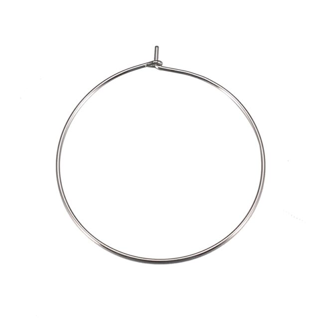 30pcs Stainless Steel Earrings Hoops Diy Wine Mark Circle 35mm Jewelry