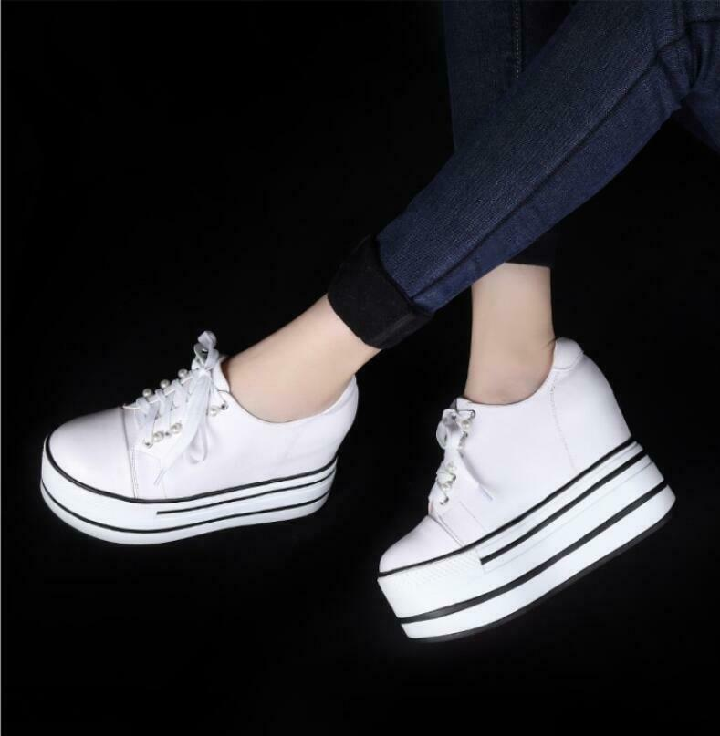Womens Lace Up Leather Platform Creepers Sneakers Casual Flat Sports shoes Size