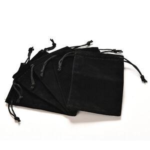 Schmuck-Tasche-Black-Velvet-Halskette-Ring-Ohrringe-Lagerung-Display-Bage-NP-F