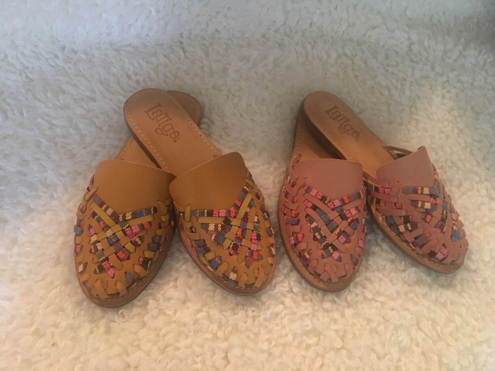 Nuevas Nuevas Nuevas mujeres de cuero tejido Latigo Sundance Resbalón En Sandalias Zapatos natural o Amarillo  el estilo clásico