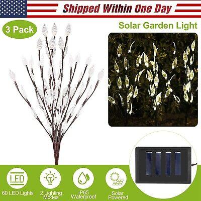3 x Stylish Branch Tree Twig Leaf Solar Outdoor Garden LED Lights