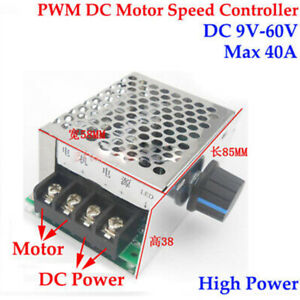 40A PWM DC Motor Speed Controller DC 9-60V 12V 18V 24V 36V 48V  Speed Regulator