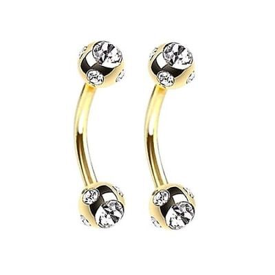 Eyebrow Ring Curved Barbell Anodized Titanium 16g with Gems 5//16 8mm