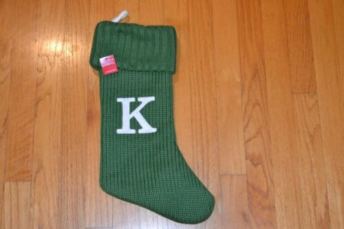 """Target NWT Letter Initial /""""K/"""" 17/"""" Green Monogram Xmas Stocking Knitted Knit By"""
