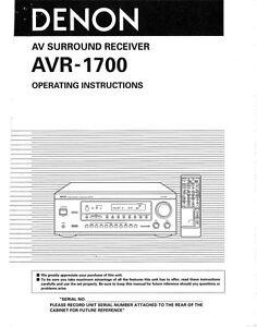 denon avr 1700 av receiver owners manual ebay rh ebay com denon dp-1700 service manual denon avr 1700 user manual