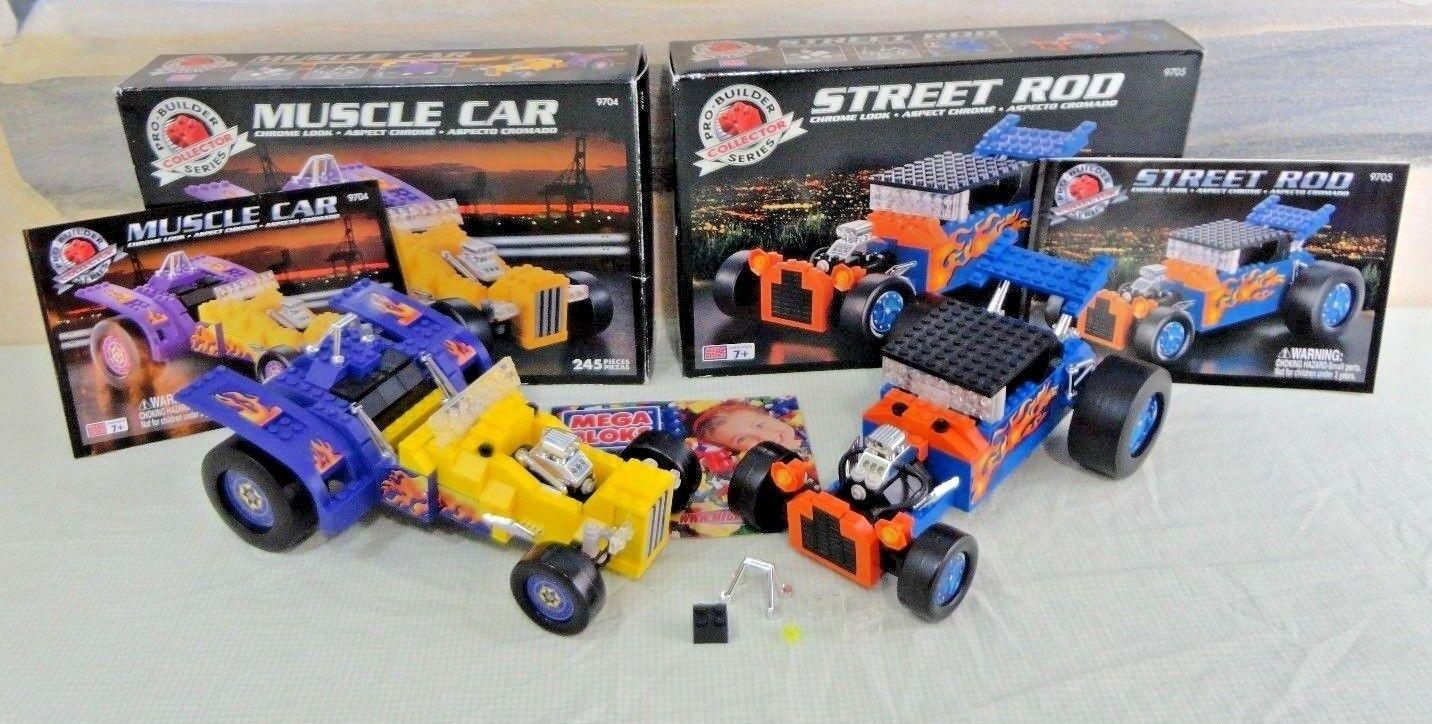 Lot  2 Mega Bloks PROBUILDERS Sets STREET ROD  9705 MUSCLE CAR  9704 Complete