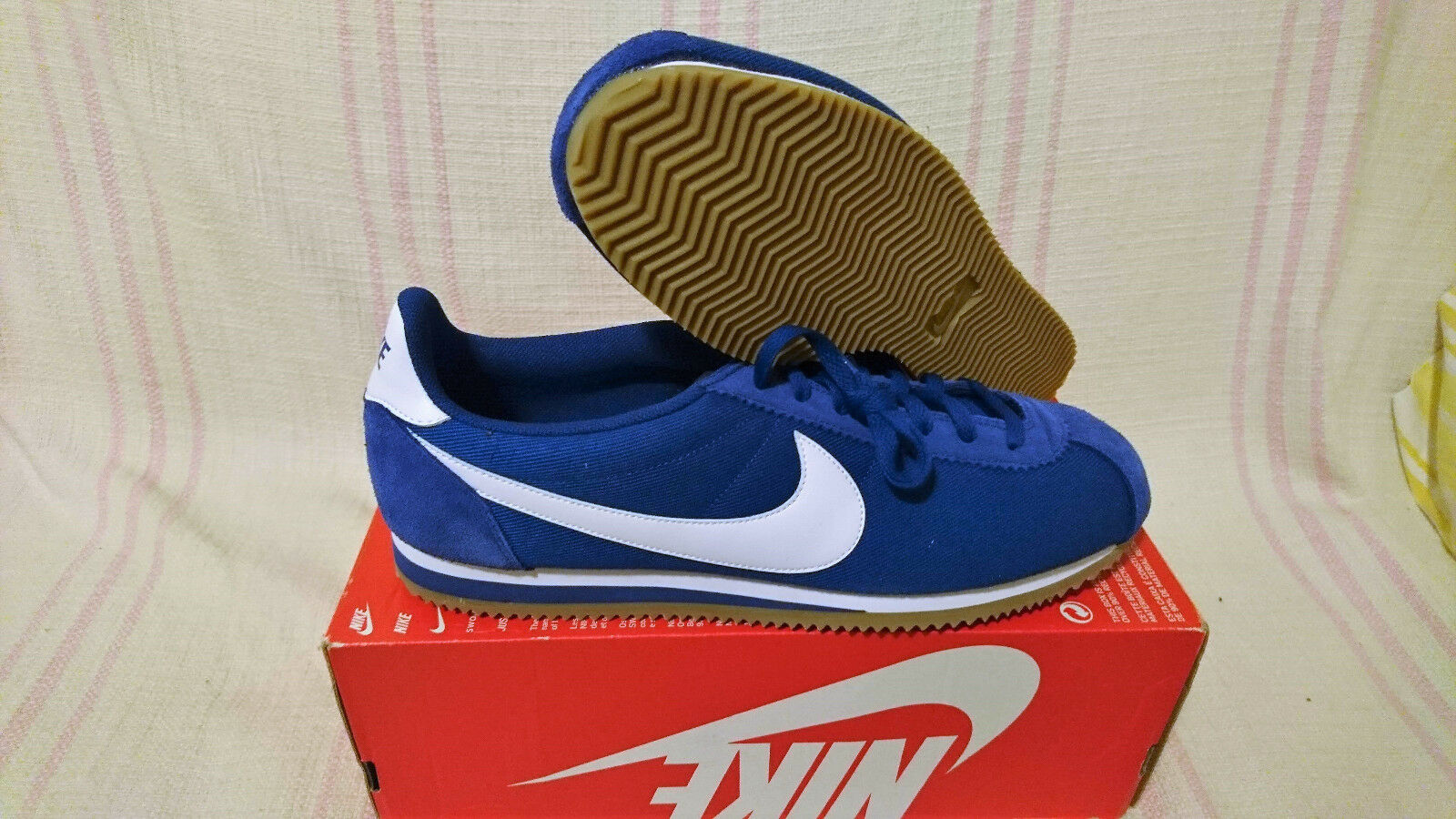 Nike Classic Cortez Basic Nylon Gym bluee White Gum Light Brown 807472 405 Sz 14