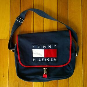 80439be43a Vintage 90s TOMMY HILFIGER Flag Logo Patch Canvas School Messenger ...