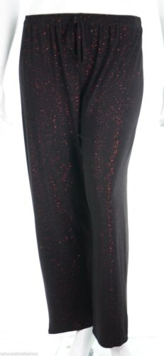 Womens new stretch black trouser red sparkly glitter party wear size 16-26