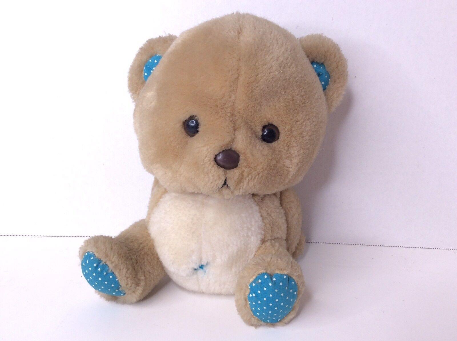 Applause Wallace Berrie Toby Teddy Bear Beige Blau Polka Dot Plush Stuffed Toy