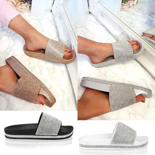 Womens Slip On Slides Ladies Bling Bling Sparkly Diamante Sliders Summer Sandals