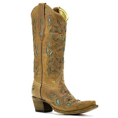 Corral Ladies Tan Floral Turquoise Inlay Boots A1952 NIB