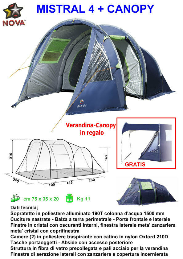 Tenda igloo MISTRAL 4  CANOPY Nova Outdoor