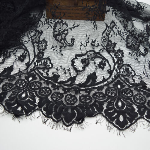 3yards 59/'/'wide Lace Fabric Black Eyelash Floral Wedding Bridal Fabric Scalloped