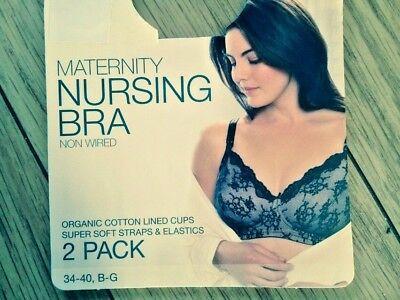 2019 Nuovo Stile M&s 2 Pack Nero Mix Maternity Nursing Non Cablato Reggiseni Non Imbottiti Taglia 34e-mostra Il Titolo Originale Giada Bianca