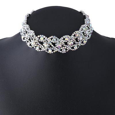 Luxury Crystal Rhinestone Pendant Choker Collar Necklace Women Wedding Jewelry