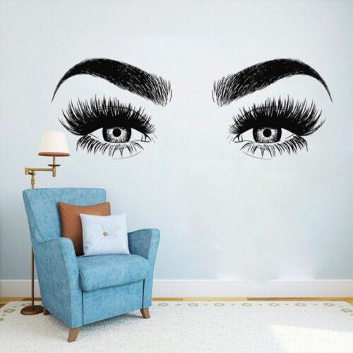Beauty Salon Wall Sticker Eyes Eyelashes Girl Bedroom Removeable Art Vinyl Decal