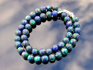 Azurite-Natural-Gemstone-Necklace-8mm-Beaded-Silver-16-30inch-Healing-Chakra