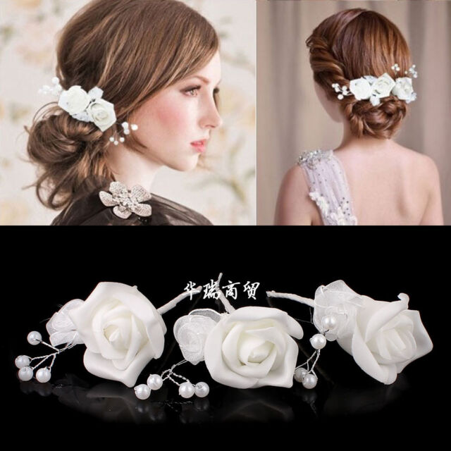 White Rose Flower Women Bridal Wedding Party Prom Hairband Hair Clip Headband