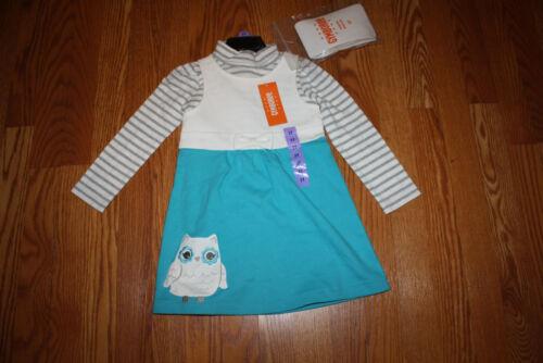 NWT Girls GYMBOREE 3 Pc Ivory Gray Striped Shirt Turquoise Owl Dress Set Size 6