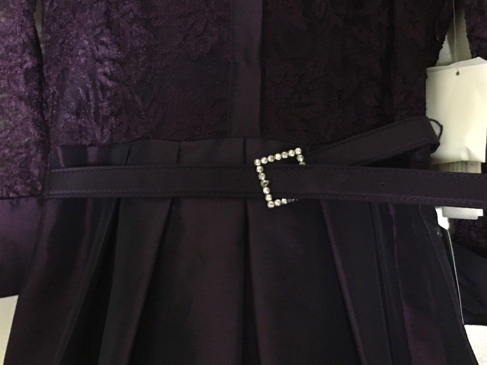 Eliza J Dress Party Gown Mixed Lace Lace Lace Taffeta Fit & Flare Plum Purple Sz 0 New e4303b