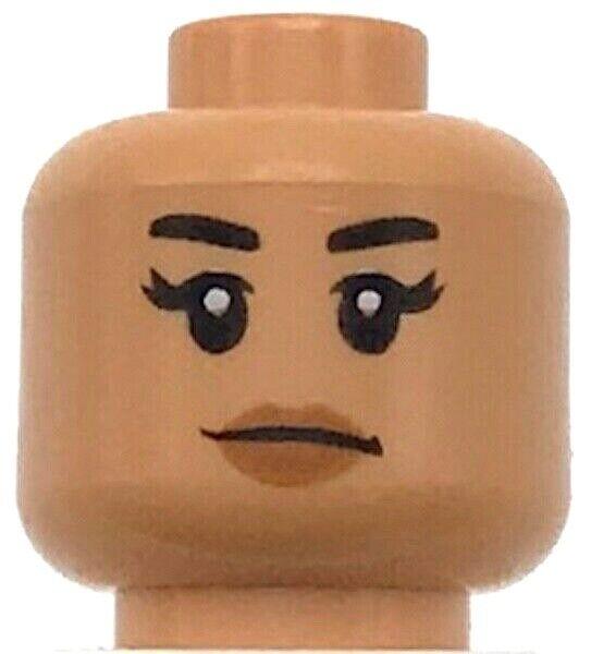 Lego New Flesh Minifigure Head Female Black Eyebrows Eyelashes Peach Lips Girl