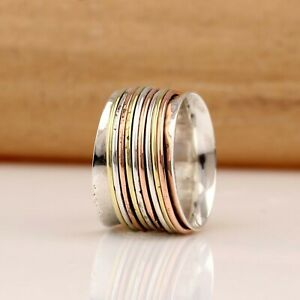 Solid-925-Sterling-Silver-Spinner-Ring-Meditation-Ring-Statement-Ring-Size-Ra-33