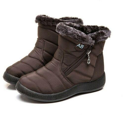 Waterproof Winter Women Shoes Snow Boots Fur-lined Slip On Warm Ankle Size US