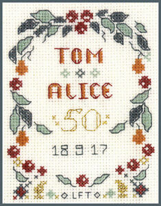 Mini Golden Wedding Anniversary Sampler - Cross Stitch Kit with colour chart