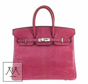 Hermes Birkin Bag 25cm Lizard Exotic Skin Fuchsia Pink PHW - 100 ... af3ecde51785
