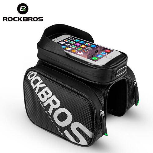 RockBros Cycling Bicycle Frame Front Tube Bag Waterproof Phone Holder Bag Black