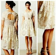 14 anthropologie ivoire ivory cream lace cut out lovely elegant classic dress