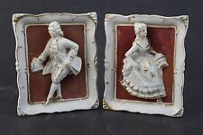 Pair VTG Shabby Chic French Court Figural 3D Gold Gilt Porcelain Wall Plaque