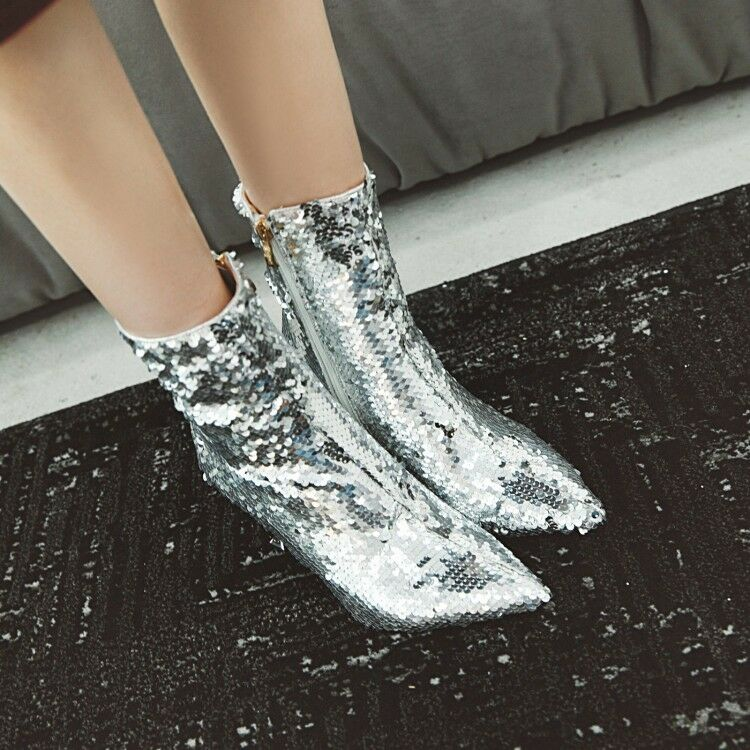 Sexy Women's Sequins Stilettos High Heels shoes Party Ankle Boots Boots Boots Plus Size 780d4a