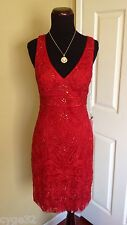 BRAND NEW SUE WONG RED BEADED SHORT V NECK COCKTAIL PARTY EVENING DRESS 0 NWT