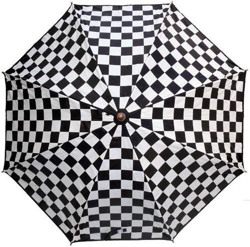 Regenschirm Karo schwarz/weiß *ska*Taschenschirm*checker*Rockabilly*faltbar*punk