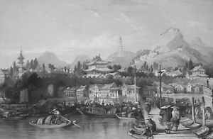 CHINA-City-of-Tae-Ping-in-Keang-nan-Province-1840-Antique-Print-T-Allom