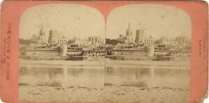 Avignon Vista Generale Foto Neurdein Stereo Vintage Albumina Ca 1875