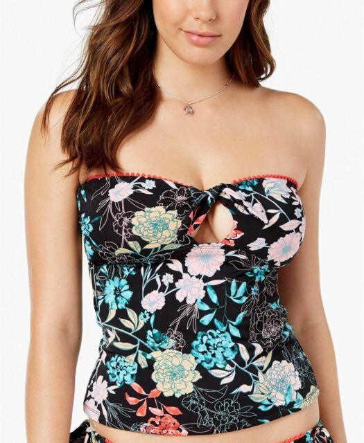 Bar III Floral-Print Bandeau Tankini Top MSRP $54 Size XL # U6 235 NEW