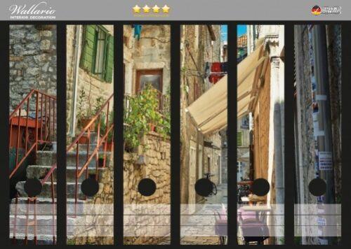 Wallario Ordnerrücken selbstklebend für 6 breite Ordner Gasse Kroatien Stadt