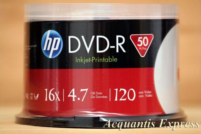 50 HP 16X DVD-R WHITE InkJet Printable Blank empty Media Spindle 4.7GB box cake