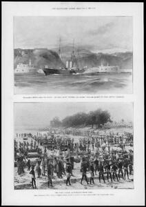1897-Antique-Print-FRANCE-Riviera-Royal-Yacht-Indian-Famine-Tank-Digging-140