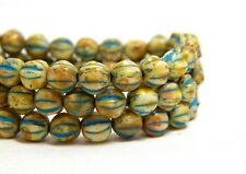 6mm Turquoise Wash Melon Round Beads Blue and Cream Fluted Czech Glass T-79G