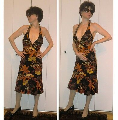 ($158) NWT CACHE DESIGNER STRETCH FITTED HALTER DRESS 6