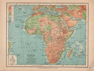 Carte Afrique Physique.Details Sur 1915 Carte Afrique Contours Physique Madagascar Sahara Angola Abyssinia